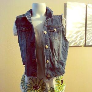 Papaya Cropped Jean Vest